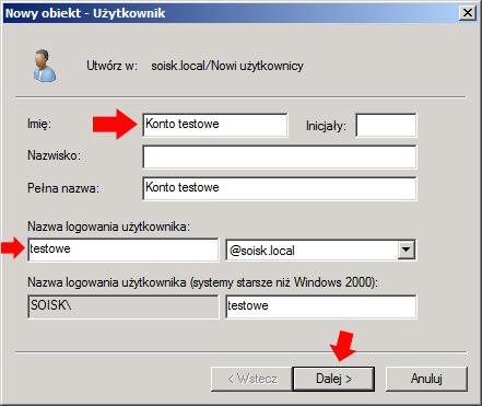 Rysunek 5. Definiowanie nazwy użytkownika orazlogowania.