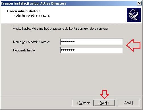 Rysunek 11. Definiowanie hasła dla konta administratora.
