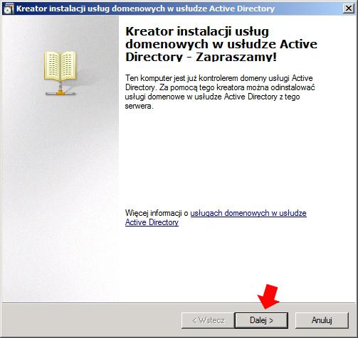 Rysunek 3. Uruchomienie kreatora instalacji usług domenowych.