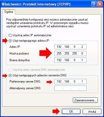 Rysunek 17. Definiowanie adresów IP.