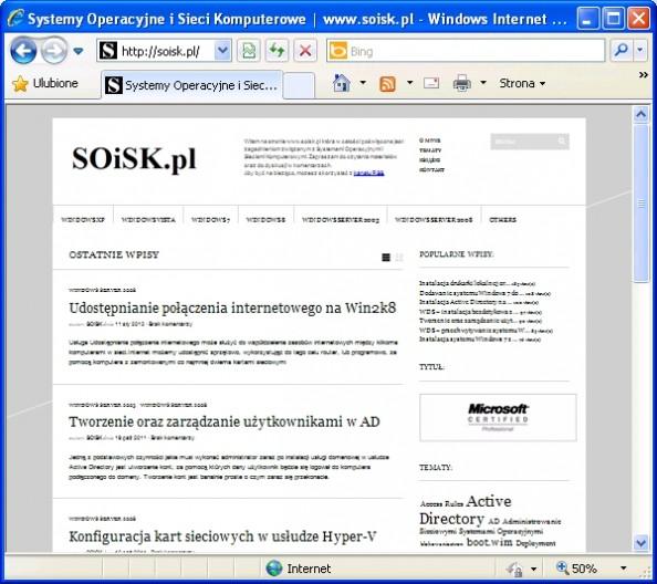 Rysunek 7. Sprawdzamy dostęp dointernetu zkomputera HOSTA.