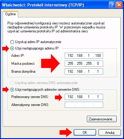 Rysunek 6. Definiowanie adresów IP.