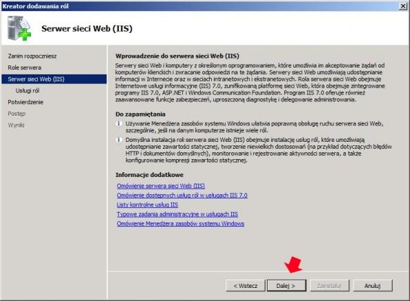 Rysunek 4. Wprowadzenie doserwera sieci WEB.
