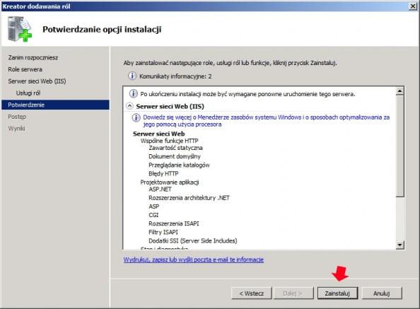 Rysunek 6. Rozpoczęcie prosecu instalacji serwera web.