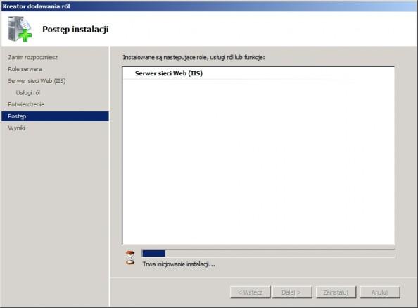 Rysunek 7. Rozpoaczęty proces instalacji serwera WEB.