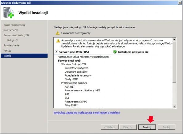 Rysunek 8. Zakończenie procesu instalacji serwera www.