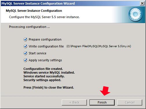 Rysunek 50. Zakończenie procesu konfiguracji serwera MySQL.