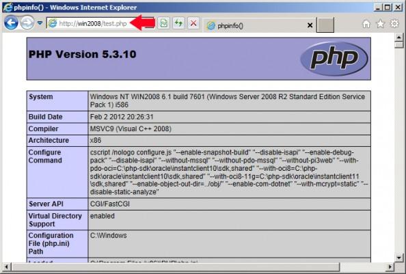 Rysunek 38. Poprawnie zaimplementowana obsługa języka PHP.