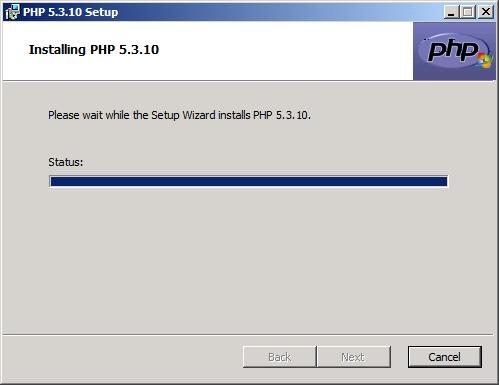 Rysunek 21. Rozpoczęcie procesu instalacji języka PHP.