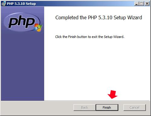 Rysunek 22. Zakończenie procesu instalacji języka PHP.