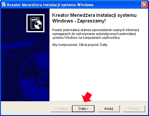 Rysunek 3. Uruchomienie kreatora menedżera instalacji systemu Windows.