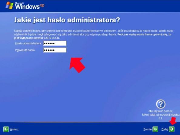 Rysunek 16. Definiowanie hasła dla administratora systemu.
