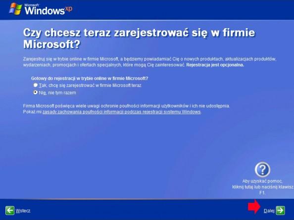 Rysunek 20. Rejestracja wfirmie Microsoft.