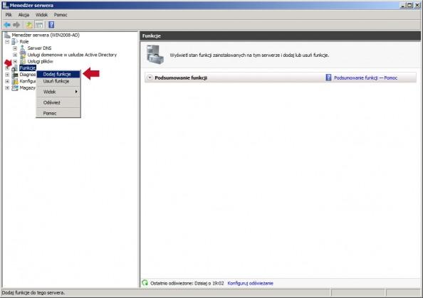Rysunek 2. Dodanie nowej funkcji wMenedżerze serwera.