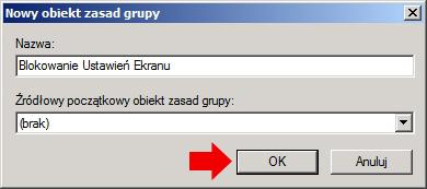 Rysunek 14. Definiowanie nazwy dla tworzonego obiektu zasad grup.