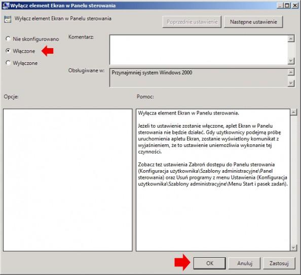 Rysunek 17. Wyłączanie elementu Ekran zPanelu sterowania.