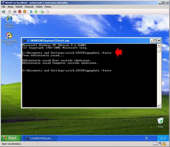 Rysunek 20. Uruchomienie systemu Windows XP iwywołanie polecenia gpupdate /force