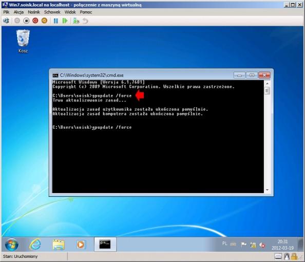 Rysunek 21. Uruchomienie systemu Windows 7 iwywołanie polecenia gpupdate /force