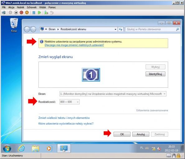 Rysunek 23. Weryfikacja zaimplementowanych zasad wsystemie Windows 7.