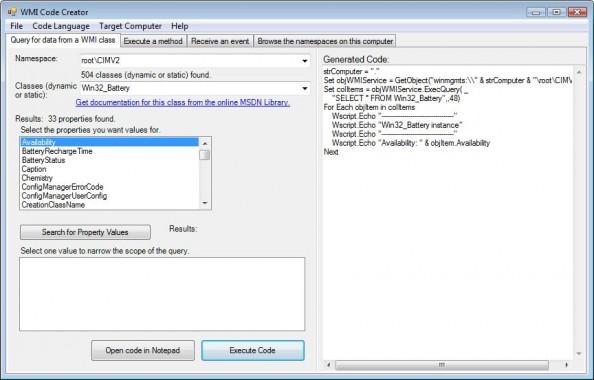 Rysunek 24. Tworzenie filtrów zapomocą generatora kodów WMI.