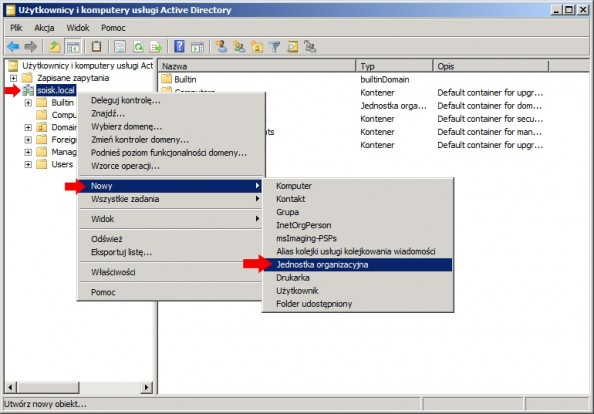 Rysunek 4. Tworzenie nowej jednoski organizacyjnej wActive Directory.