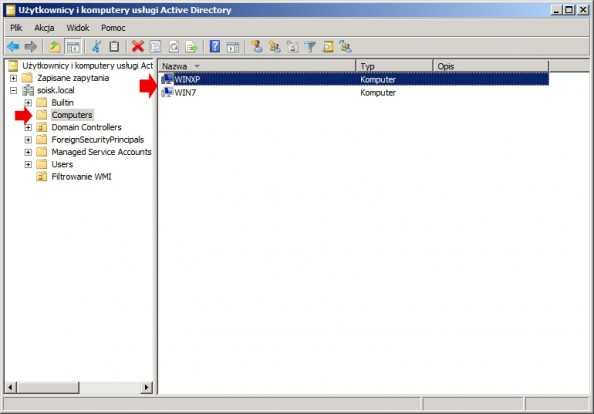 Rysunek 1. Dodane koputerów zsystemem Windows XP orazWindows 7 dodomeny.