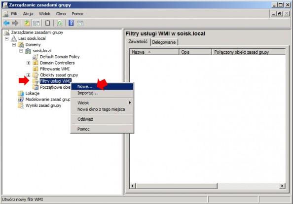 Rysunek 9. Tworzenie nowego filtra WMI.