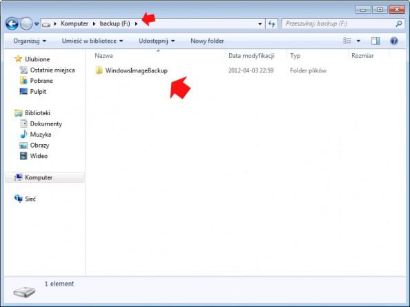 Rysunek 10. Folder zawierający kopię zapasową systemu Windows 7.
