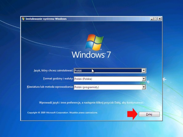 Rysunek 14. Instalator systemu Windows 7.