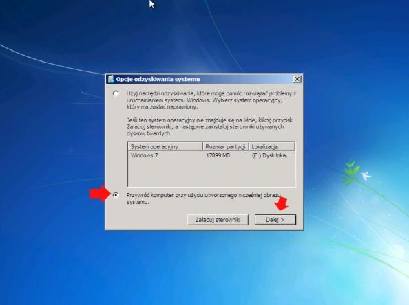 Rysunek 17. Wybór opcji przywracania stanu komputera zutworzonego obrazu systemu.