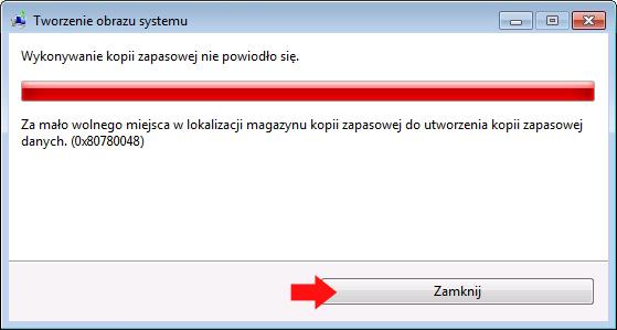 Rysunek 28. Zbyt mało miejsca nawykonanie kopii zapasowej systemu Windows 7.