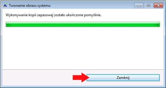 Rysunek 9. Zakończenie procesu wykonywania kopii zapasowej systemu Windows 7.