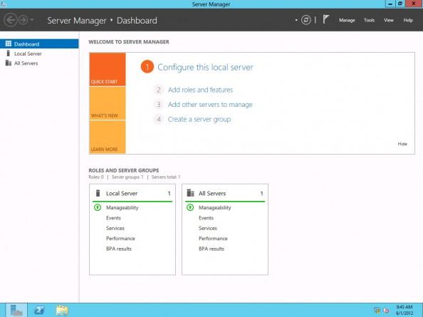 Rysunek 16. Widok okna Menedżera Windows Servera 2012 Release Candidate (RC)
