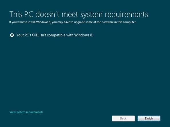 Rysunek 21. Komunikat występujący podczas instalacji systemu Windows 8.