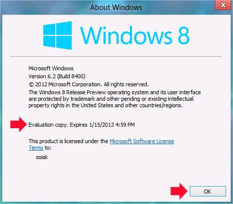 Rysunek 20. Data wygaśnięcia  Windows 8 wwersji  Release Preview.