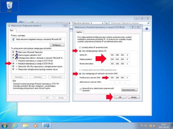 Rysunek 8. Definiowanie adresów ip nakliencie (Windows 7)