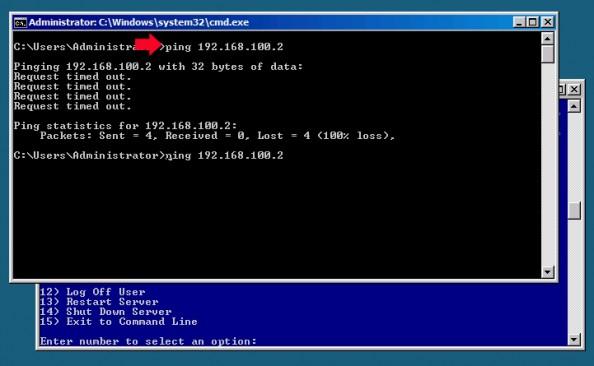 Rysunek 12. Próba pingowania klienta (Windows 7).