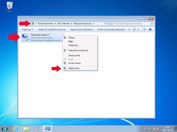 Rysunek 7. Ustawianie adresu ip nakliencie (Windows 7)