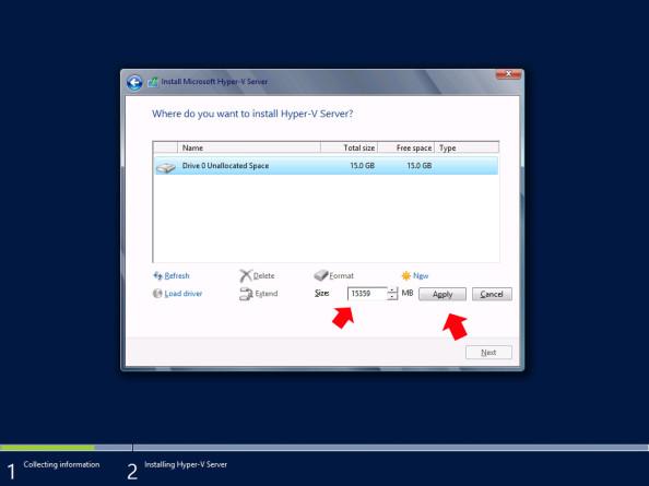 Tworzenie partycji przeznaczonej podinstalację systemu  Hyper-V Server 2012