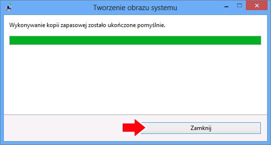 Zakończenie procesu wykonywania kopii zapasowej systemu Windows 8.