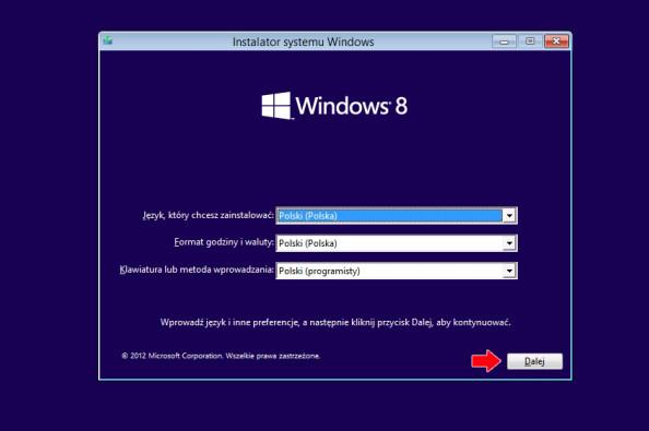 Instalator systemu Windows 8.
