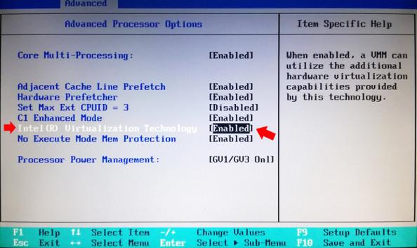 Sprawdzenie wBIOSie, czymożliwość virtualizacji jest włączona.
