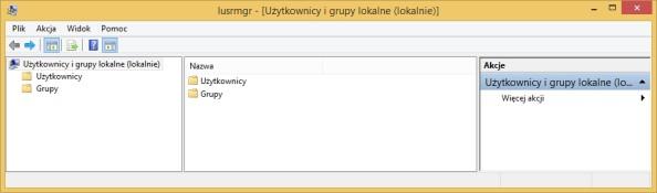 Okno użytkowników igrup wywołanych poleceniem lusrmgr.msc