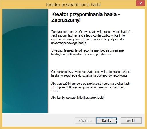 Kreator przypominania hasła wywołany poleceniem rundll32.exe keymgr.dll,PRShowSaveWizardExW