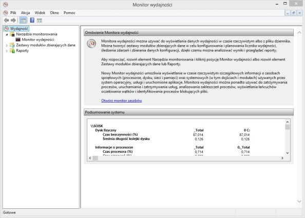 Monitor wydajności wywołany poleceniem perfmon.exe