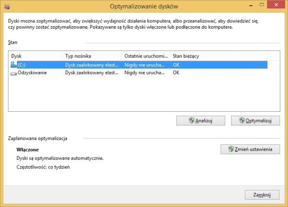 Defragmentacja ioptymalizacja dysków przy użyciu polecenia dfrgui.exe