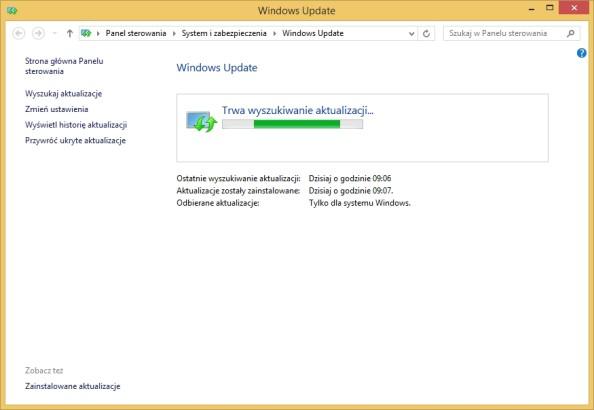 Szybkie sprawdzanie aktualizacji poprzez polecenie  %windir%\system32\wuauclt.exe /showcheckforupdates