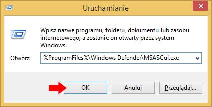 Rysunek 1. Wywołanie programu Windows Defender.