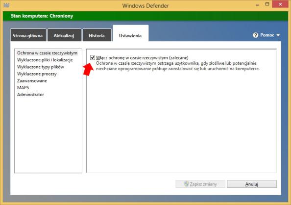 Rysunek 3. Widok zakładki ustawienia wprogramie Windows Defender.