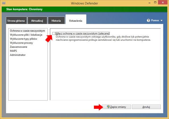 Rysunek 4. Wyłączanie Windows Defendera.